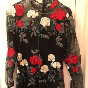 Floral long-sleeve sheer dress